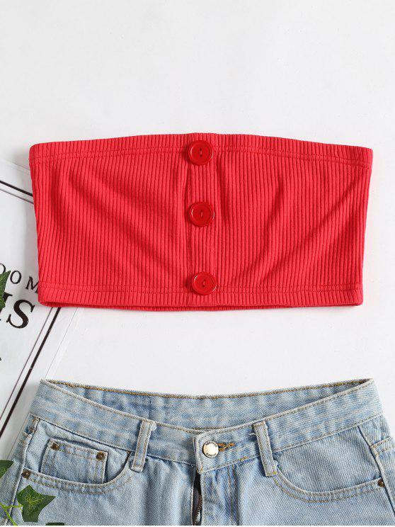 trendy Ribbed Buttoned Tube Top - VALENTINE RED M