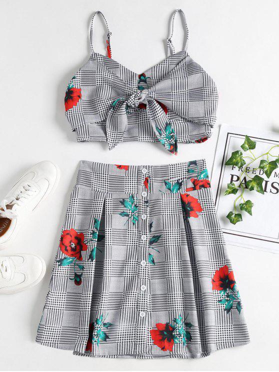 online Floral Plaid Knotted Skirt Set - BLACK M