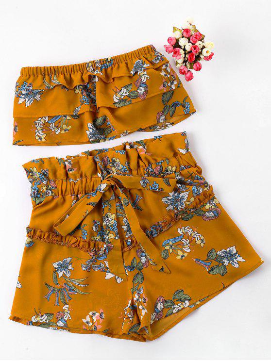 lady Floral Tube Top with Ruffle Shorts Set - BEE YELLOW XL
