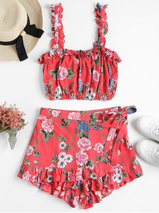 outfits Frilly Crop Top and Skorts Two Piece Set - WATERMELON PINK M