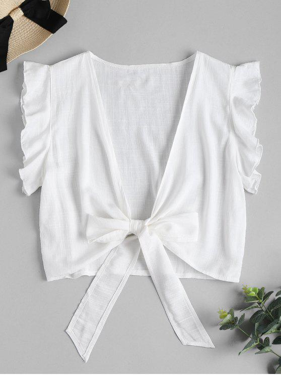 affordable Tie Knot Ruffle Sleeve Crop Top - WHITE M