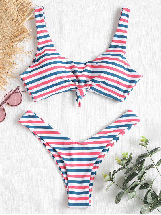 Scoop Knopf Gestreifter Bikini - Multi L