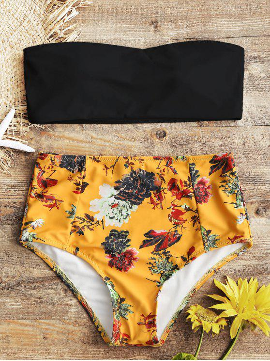trendy Bandeau Top and Floral High Waisted Swim Bottoms - BLACK M