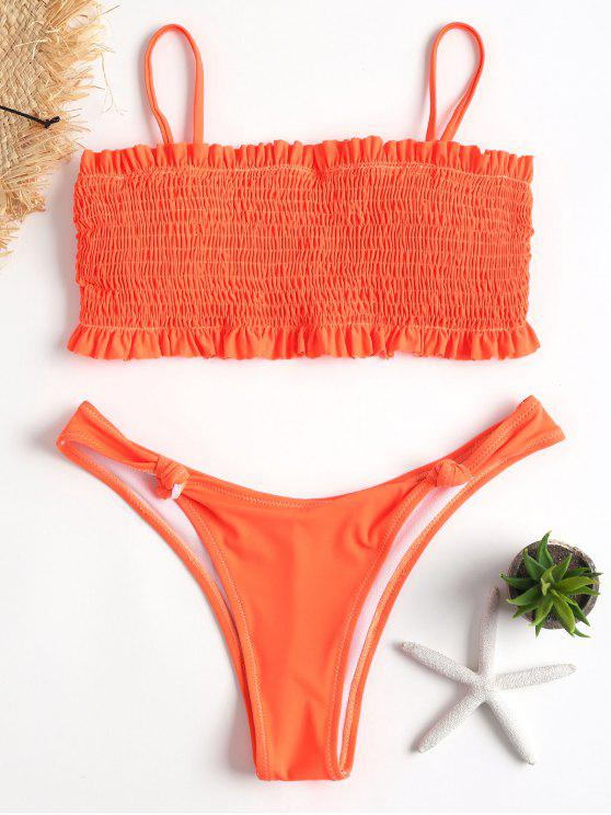 Smocked Hohe Schlitz Bikini - Dunkles Orange S
