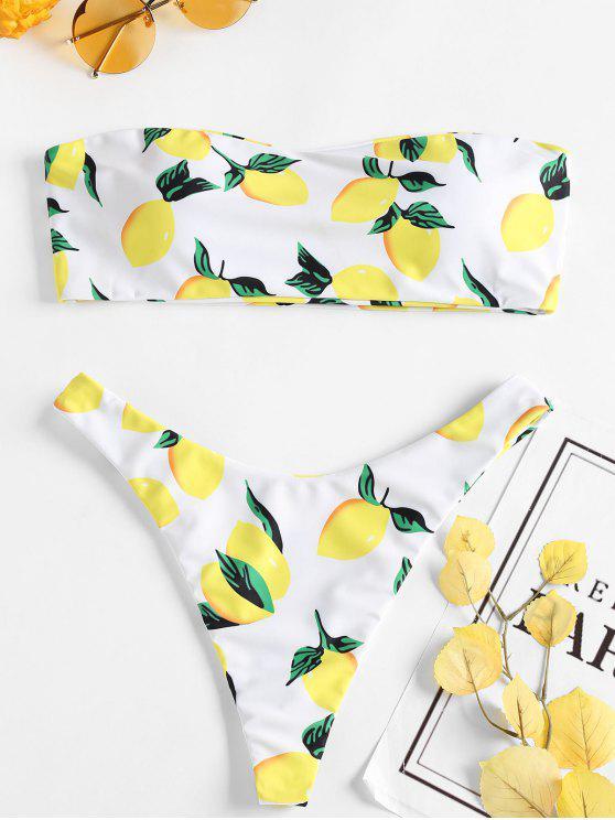 Zitrone Druck Tanga Bikini - Weiß M