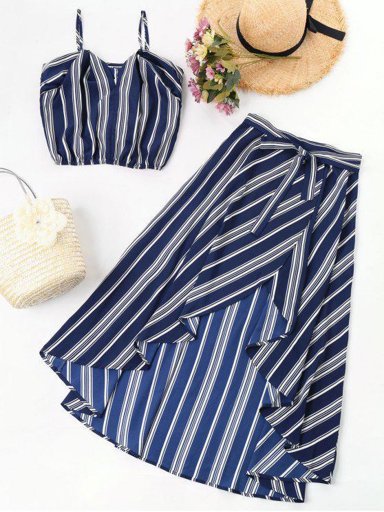 hot Striped High Low Two Piece Maxi Dress - DEEP BLUE M