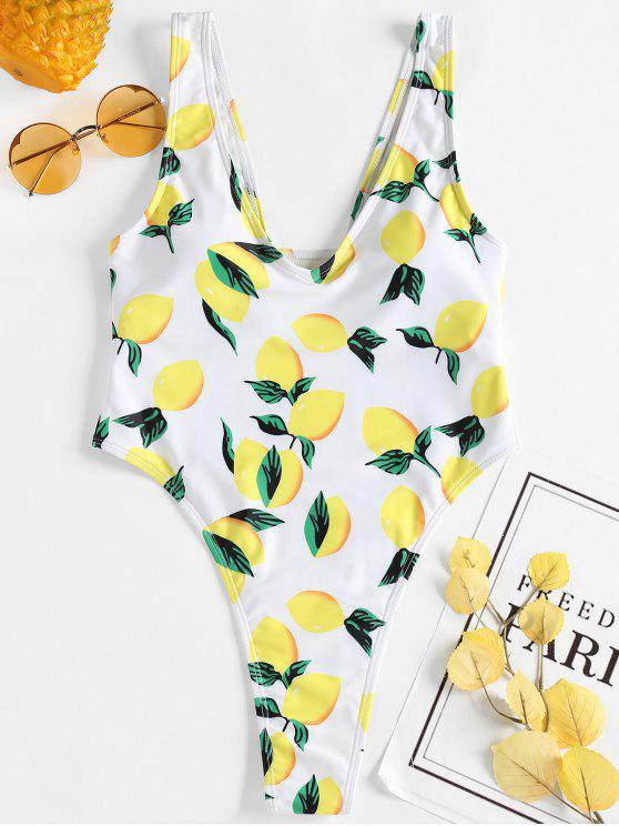 الليمون طباعة ثونغ ملابس السباحة - أبيض L