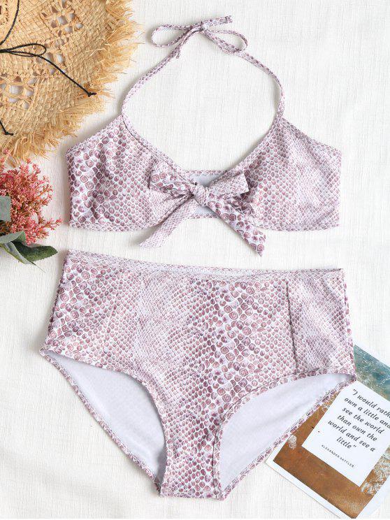 Conjunto de Bikini de talle alto Bowtie Plus Size - Multicolor 2X