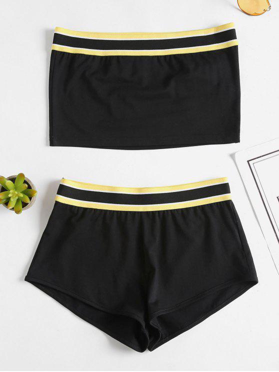 Bandeau Top Shorts Conjunto de dos piezas - Negro M