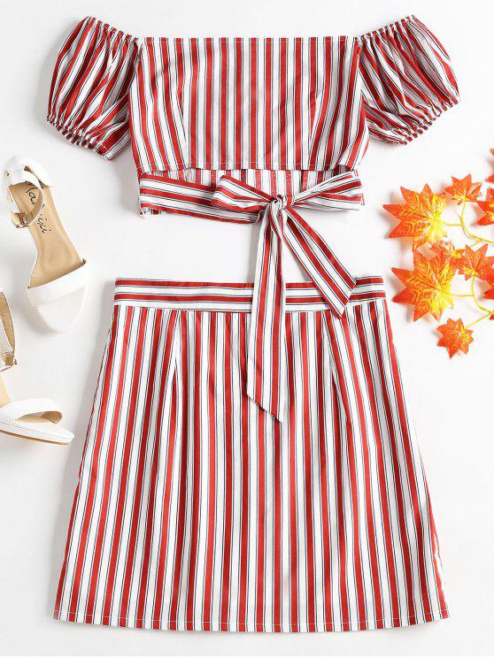 affordable Striped Off Shoulder Skirt Set - LOVE RED M