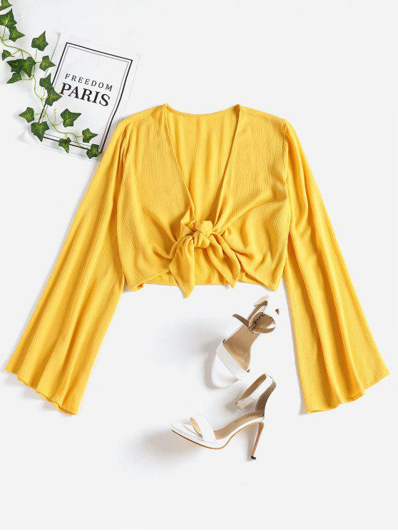 women's Tie Front Cropped Top - SUN YELLOW S