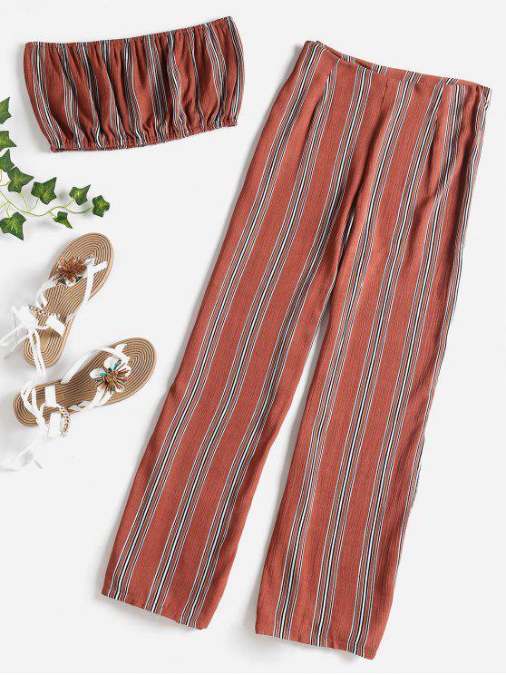 latest Striped Bandeau Pants Set - CHESTNUT M