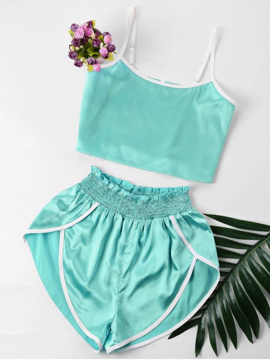 affordable Contrast Trim Cami and Shorts Set - BLUE GREEN XL