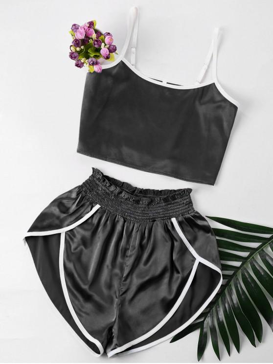 Contraste Trim Cami y Shorts Set - Negro XL