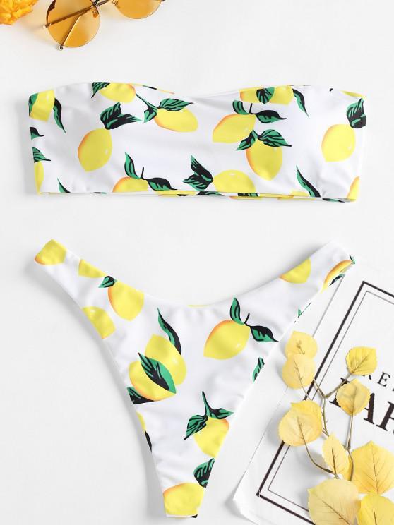 trendy Lemon Print Thong Bikini - WHITE L
