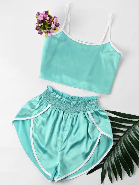 fancy Contrast Trim Cami and Shorts Set - BLUE GREEN S