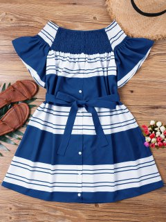 Striped Shirred Off Shoulder Dress - Deep Blue M