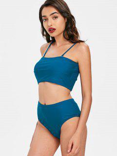 Ensemble Bikini Bandeau à Taille Haute - Bleu Glaciaire S
