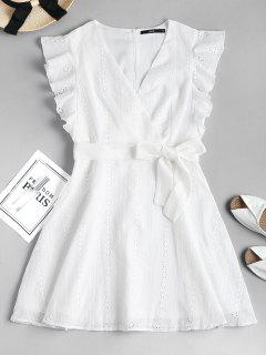 Ruffle Broderie Anglaise Party Dress - White L