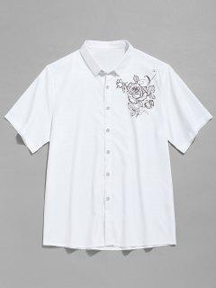 Short Sleeve Flower Print Shirt - White Xs