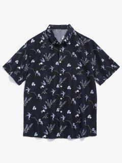 Flower Pattern Short Sleeve Shirt - Black M