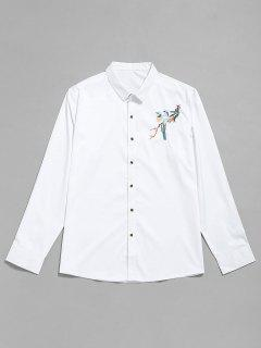 Bird Embroidery Button Up Shirt - White L