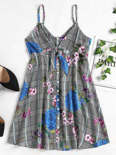 Button Front Floral Mini Party Dress - Black L