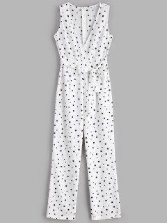 Polka Dot Wide Leg Palazzo Jumpsuit - White M