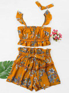 Floral Crop Top With Drawstring Shorts Set - Bee Yellow M