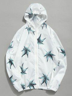 Leaf Print Hooded Zip Jacket - White M
