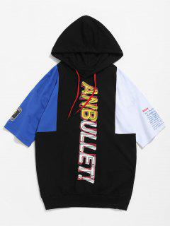Color Block Hooded Print Tee - Black S
