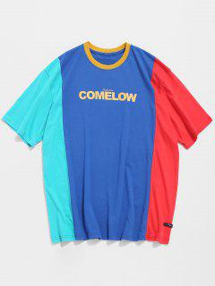 Contrast Color Block Pattern T-shirt - Blue L