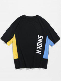 Raglan Sleeve Color Block Tee - Black M