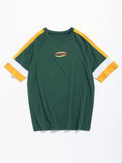 T-shirt à Manches Courtes à Manches Raglan Contrastantes - Vert Xl
