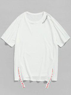 Slit Short Raglan Sleeve Tee - White 2xl