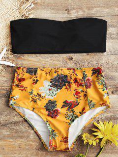 Bandeau Top Y Florales De Cintura Alta Swim Bottoms - Negro S