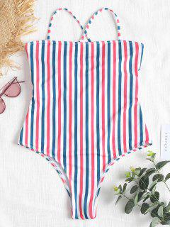 Contrast Striped High Leg Swimsuit - Multi M