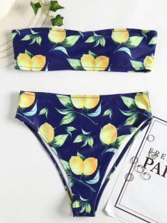 Bikini Bandeau à Imprimé Citron à Taille Haute - Bleu Foncé Toile De Jean S
