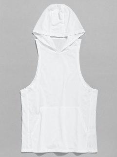 Tank Kangaroo Pocket Hoodie - White S