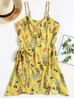 Overlap Open Back Slip Dress - Yellow L