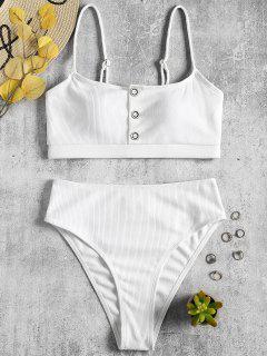 Bikini Taille Haute à Boutons Côtelés - Blanc L