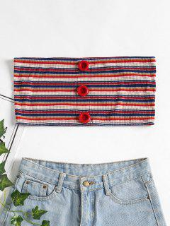 Buttons Ribbed Tube Top - Red S