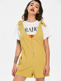 Button Embellished Striped Romper - Harvest Yellow L