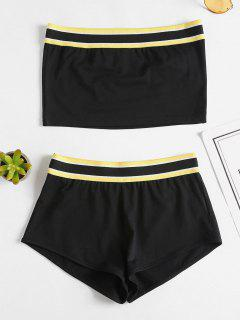Bandeau Top Shorts Two Piece Set - Black S