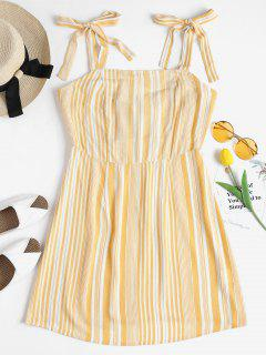 Tie Strap Striped Mini Pinafore Dress - Corn Yellow L