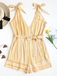 Pockets Striped Tie Strap Cute Romper - Corn Yellow M