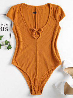Ribbed Cap Sleeve Bodysuit - Light Brown L