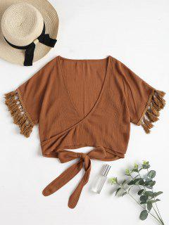 Tassels Wrap Tie Crop Top - Brown L