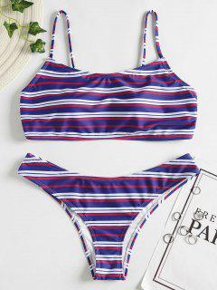 Colorful Striped Bikini - Denim Dark Blue M