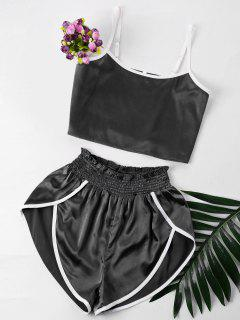Contrast Trim Cami And Shorts Set - Black S
